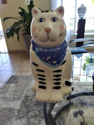 Home & garden..ORIGINAL CAT COOKIE JAR WHITE & BLACK WITH BLUE SCARF. COCO DOWLEY. HARD to find for Sale in Lincoln Acres, CA