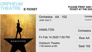2 tickets Hamilton tonight 2/14 at 7pm for Sale in San Francisco, CA