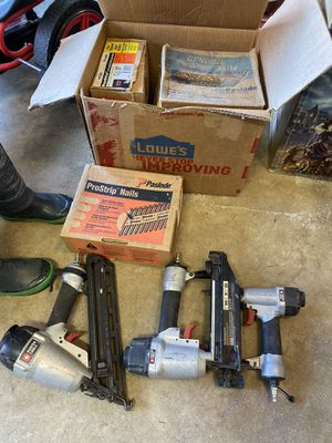 3 nail guns with boxes of nails for Sale in Merced, CA