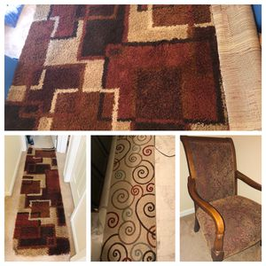 5x8ft Area Rug + 2 Matching Runners & FREE Wooden Arm Chair for Sale in Manassas, VA