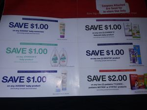 Coupons for baby Johnson,Aveeno & medicine for Sale in West Covina, CA