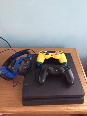 New PS4 Slim 1TB , 2 controllers (reg. DualShock & Scuf infinity Pro), Turtle Beach Headset for Sale in Dundalk, MD