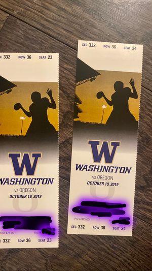 UW vs. Oregon Football Game tickets 10/19 for Sale in Seattle, WA