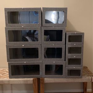 12 The Container Store Grey Cambridge Drop Front Closet Organizer Soft Boxes for Sale in Long Beach, CA