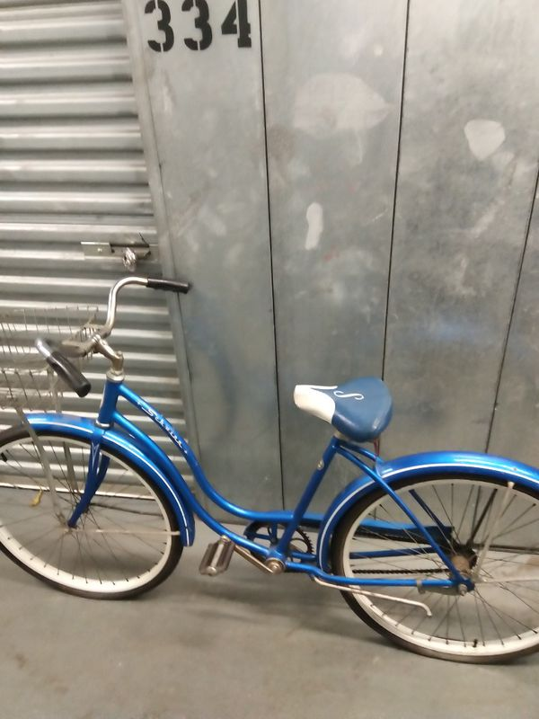 Vintage DIY Schwinn bicycle ladies woman's blue bike