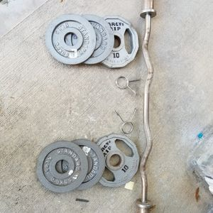 Curl bar And Weights for Sale in Pearland, TX