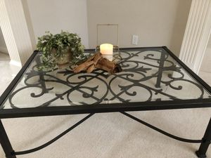 Gorgeous here end Ethan Allen wrought iron and glass coffee table. for Sale in Mill Creek, WA