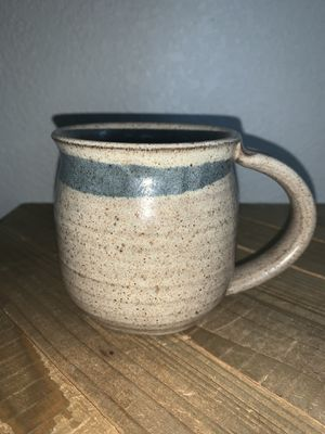 10 Oz. Handmade Blue & Gray Glazed Speckled Stoneware Pottery Art Mug Cup Signed for Sale in Citrus Heights, CA