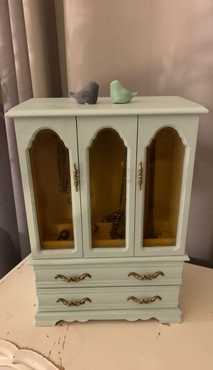 Jewelry Dresser in Vintage Sea Glass Color for Sale in Lynwood, CA