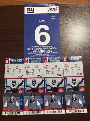New York Giants tickets October 20 2019 4 Tickets and a parking pass for Sale in West Milford, NJ