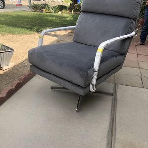 Brand New Grey Velvet Swivel Stainless Steel Arm Chair for Sale in Fowler, CA