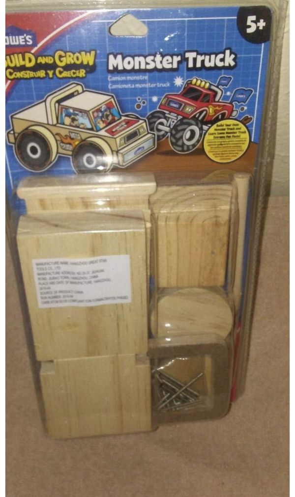 Lowe's Build and Grow Monster Truck Wooden Model Kit NEW