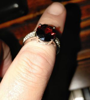 Size 8 garnet silver ring for Sale in Stockton, CA