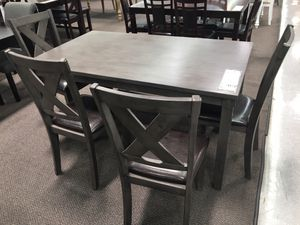 6pcs dining table set grey finish ( table + 4 chairs + bench chairs for Sale in Temple City, CA