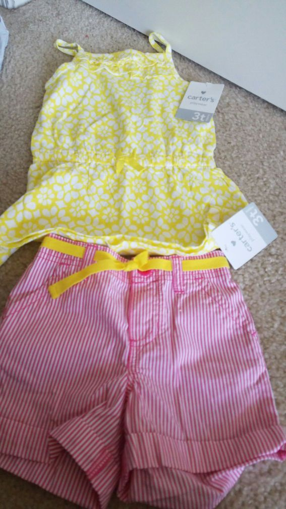 New with tags girls clothes Carters shorts and tank top size 3T $10