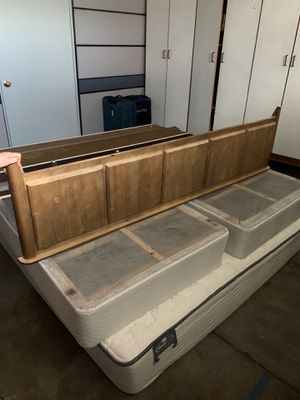 King size bed frame with box springs and if wanted mattress for free for Sale in Santa Clara, CA