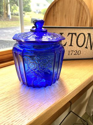 Cobalt Blue Glass Jar with Lid for Sale in Bolton, CT