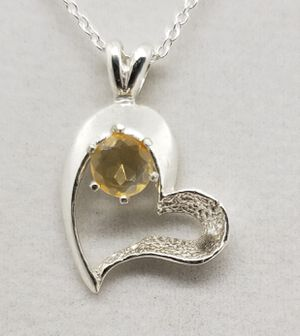 Natural Citrine Heart Silver Necklace for Sale in Justin, TX