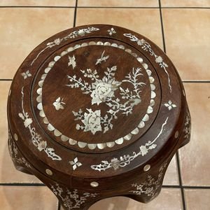 Antique Chinese Solid Rosewood Chair Stool With Inlays Mother Of Pearls Oyster for Sale in Westminster, CA