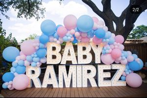 Marquee letters/ number lights / balloon garland / globos / baby shower / gender reveal / party decorations for Sale in Colton, CA