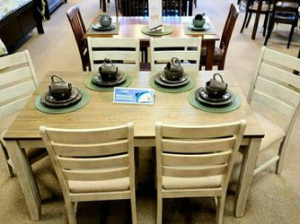Skempton White/Light Brown 7-Piece Dining Set ♥️ Table And Chairs for Sale in Round Rock,  TX