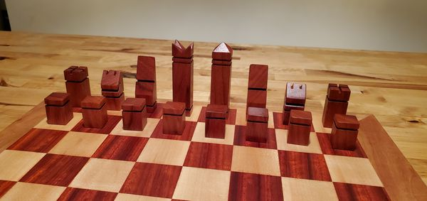 NEW Handmade/handcrafted chessboard and chess pieces