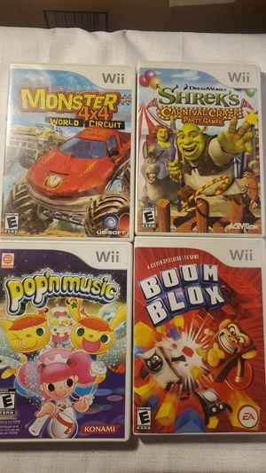 Lot of 4 Wii kids games Shrek's Carnival, Boom Blox, Monster Truck, Pop'n Music for Sale in Victorville, CA