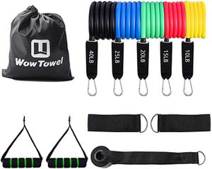 New WowTowel Elastic Pull Rope Resistance Band and Toning Bar Home Gym, Portable Yoga Fitness Stretch Sculpt Tone Pilates Total Body Workout/1+3 Set for Sale in Pomona, CA