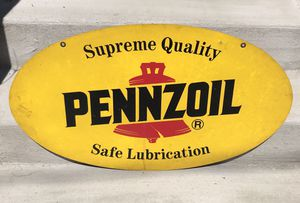 """1970s Pennzoil Sign - 31"""" Double Sided for Sale in Seattle, WA"""