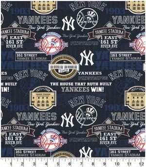 "New York Yankees - Baseball fabric - 100% cotton - 2 yards - 44"" width for Sale in Corona, CA"