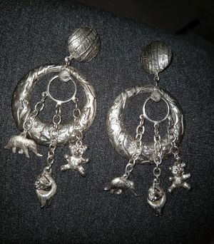 Circle earrings with animal charms for Sale in Conway, AR