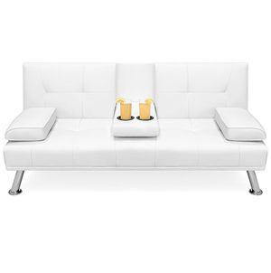 White Faux Leather Modern Futon for Sale in Atlanta, GA