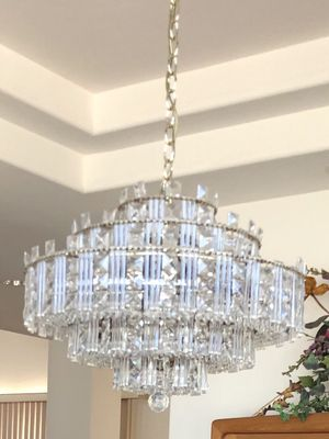 Crystal ceiling chandelier lamp light beautiful for Sale in Tustin, CA