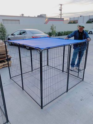 New 48 inch tall x 32 inches wide each panel x 8 panels heavy duty exercise playpen with sun shade tarp cover fence safety gate dog cage crate kennel for Sale in Covina, CA