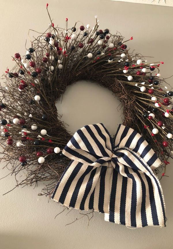 Huge red white and blue wreath