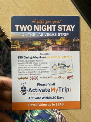 Free Las Vegas two night stay gift for Sale in SeaTac, WA