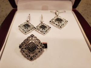 Black Diamond and Silver Ring, Pendant Necklace, and Earrings for Sale in Burbank, CA