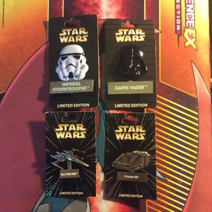 Star Wars Disney Pins Lucas Films Disneyland Pin Darth Vader Imperial Stormtrooper Poe's X-Wing Fighter Starspeeder 1000 LE Limited Edition 4000, 6000 for Sale in Orange, CA