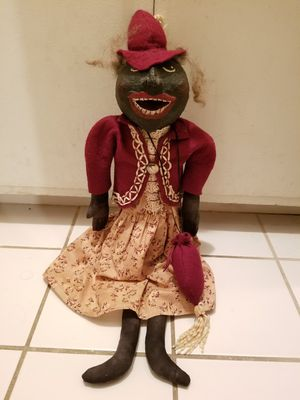 Rare Large Vintage Antique Hand Painted 1930s Black Americana Racist Paper Mache Folk Art Cloth Doll for Sale in Montclair, CA