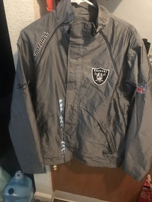 Raiders jacket Reebok size medium $60 just a little wrinkled never wore must see for Sale in Manteca, CA