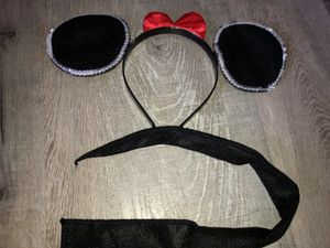 New child's Minnie Mouse headband w/ red bow & sequins ears w/ safety pin on Tail (safety pin not included), Perfect for Halloween for Sale in Pinellas Park, FL