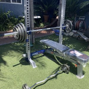 New Bench Press Squat Rack & Weight Set for Sale in Santa Ana, CA