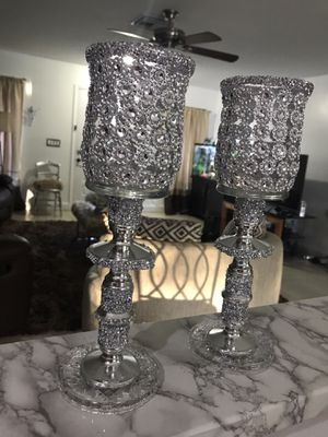 Two clear cut glass candle holders for Sale in Port St. Lucie, FL