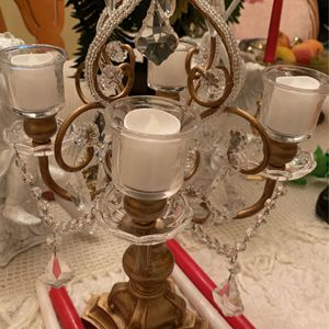 Vintage 1950's Beautiful Candelabra-crystal look Like & heavy wood-can Be Use With Different Candles- Very Unique- for Sale in Kissimmee, FL