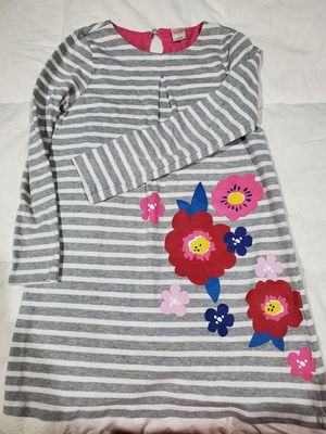 Gymboree Size M girls dress grey and white stripes colored flowers for Sale in Houston, TX