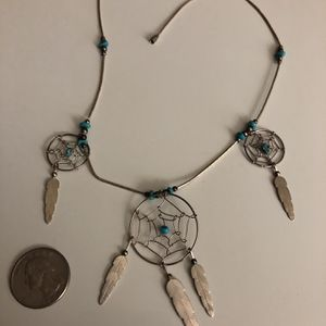 """Sterling Silver Turquoise Dream Catcher Tribal Necklace Beaded Jewelry 18"""" Christmas Gift for Sale in Nashville, TN"""