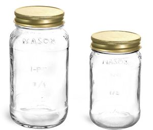 NIB Glass Mason Canning Jars with Gold Lids 16oz and 25oz for Sale in AZ, US