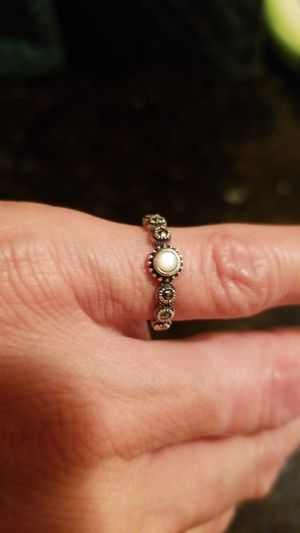 SS mother of pearl marcasite ring for Sale in St. Petersburg, FL