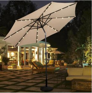 New 10 ft. LED Steel Market Solar Tilt Patio Umbrella in Beige with Crank Outdoor for Sale in Alta Loma, CA