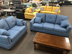 New Couch Outdoor Set. Blue. Cotton Blended Fabric. Free Delivery! for Sale in Los Angeles, CA